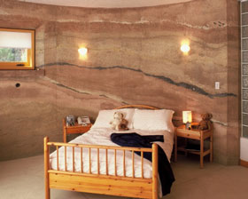 Rammed-earth room.